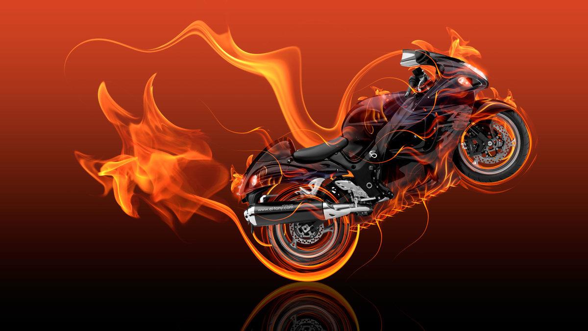 Wonderful Moto Suzuki Hayabusa Side Super Fire Flame Abstract