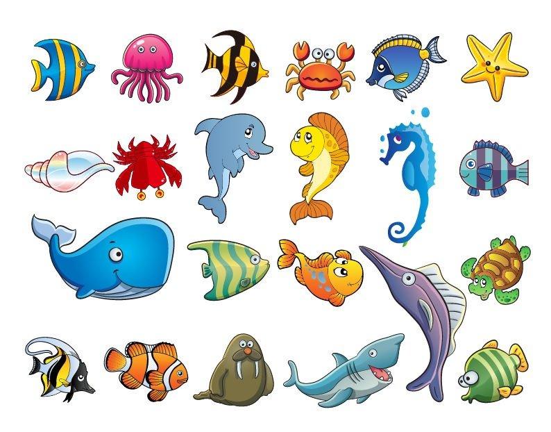 Картинка морских животных на белом фоне для детей
