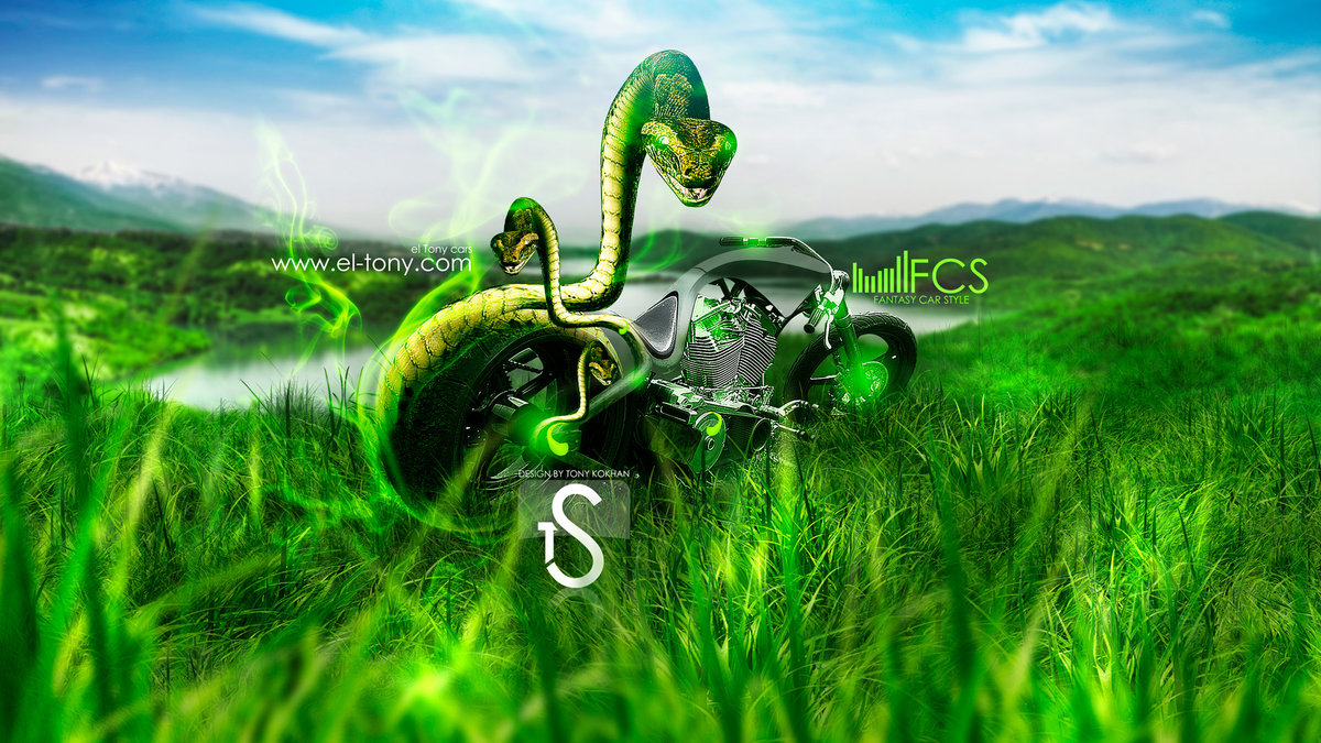 Moto Harley Davidson Chopper Snake Fantasy 2013 Nature