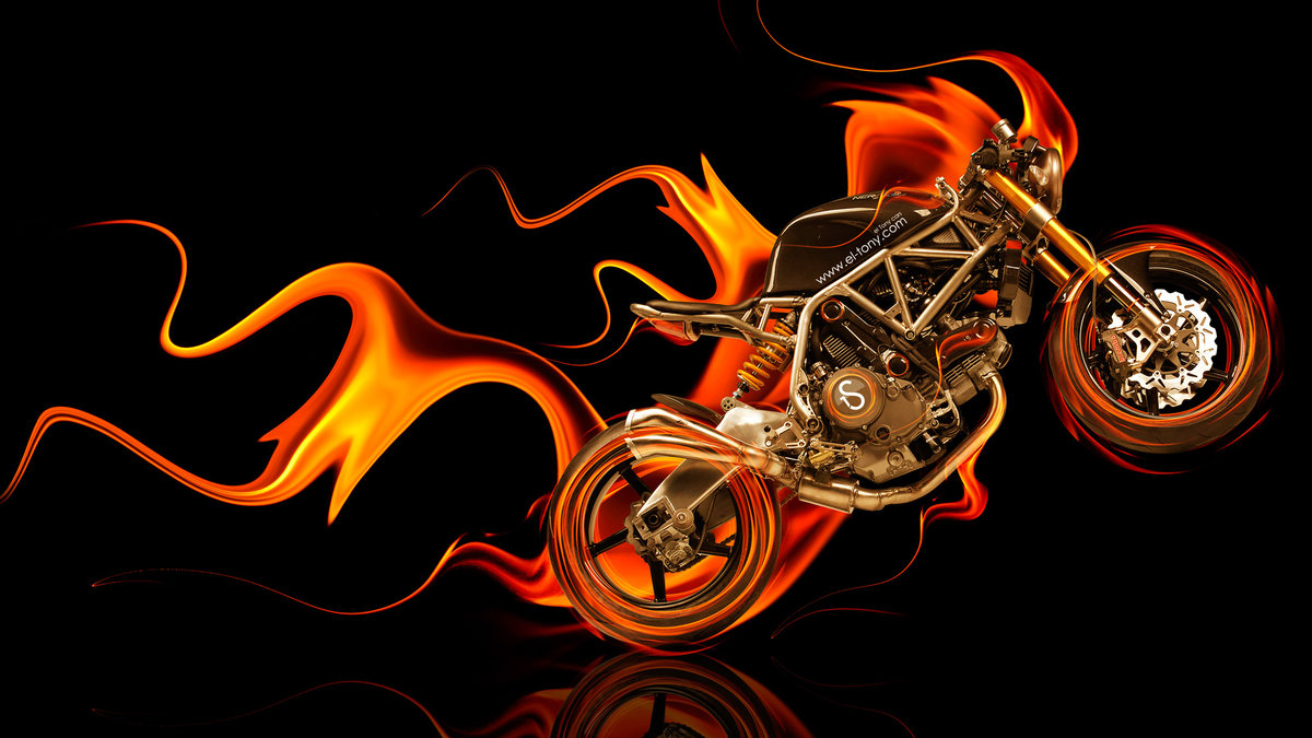 Superior Moto NCR M4 Side Super Fire Abstract Bike