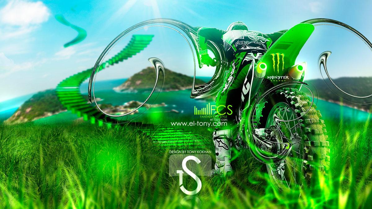 Monster Energy Motocross Biker Fantasy Green Neon 2013