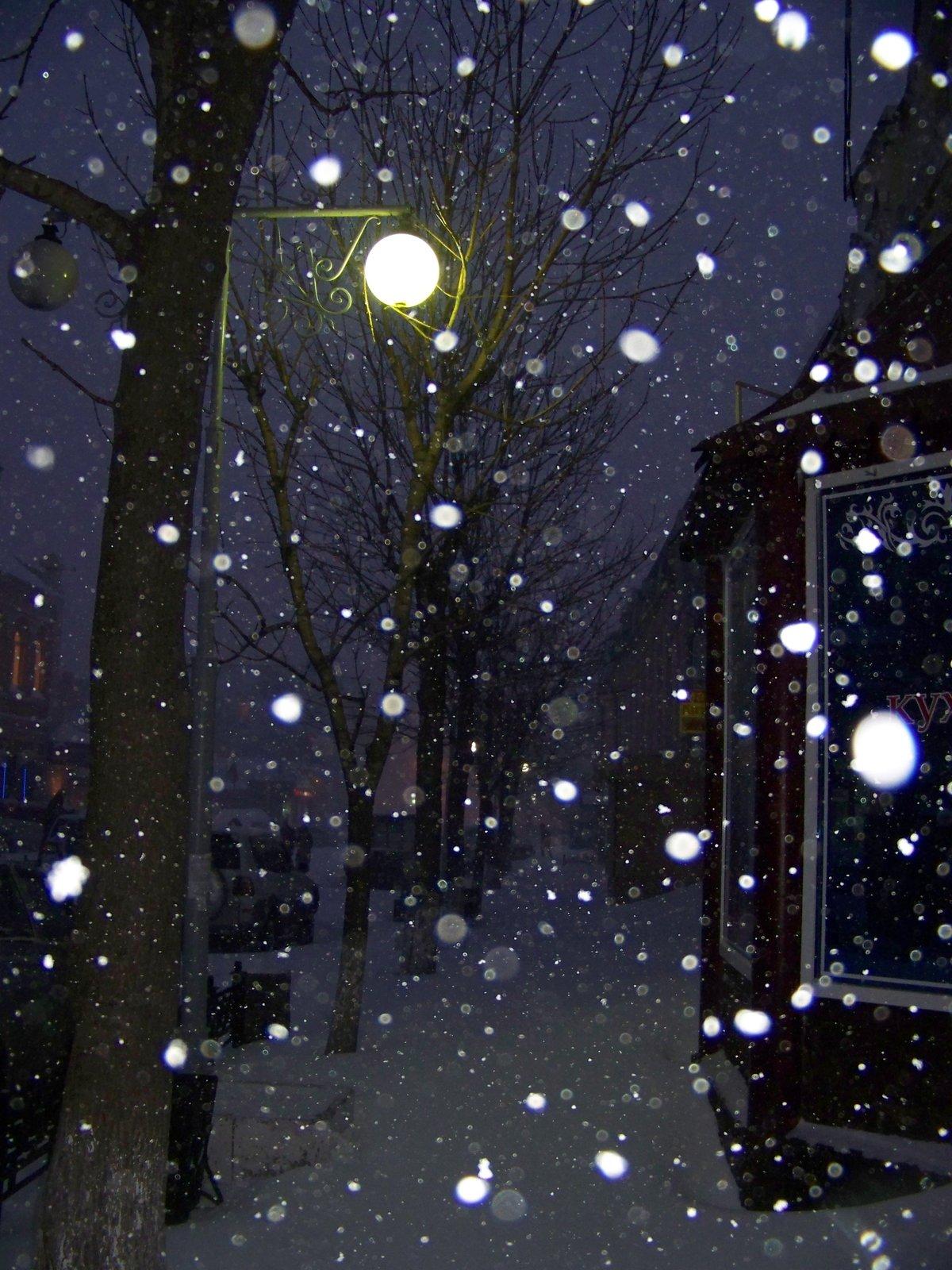 картинка снегопад и фонарь средние