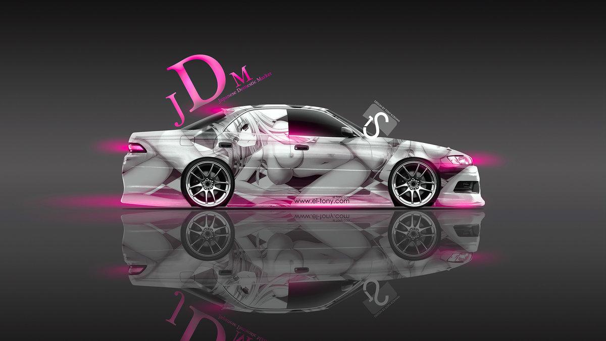Toyota Mark 2 JZX90 JDM Aerography Anime Girl 2013 Pink Neon Design ...