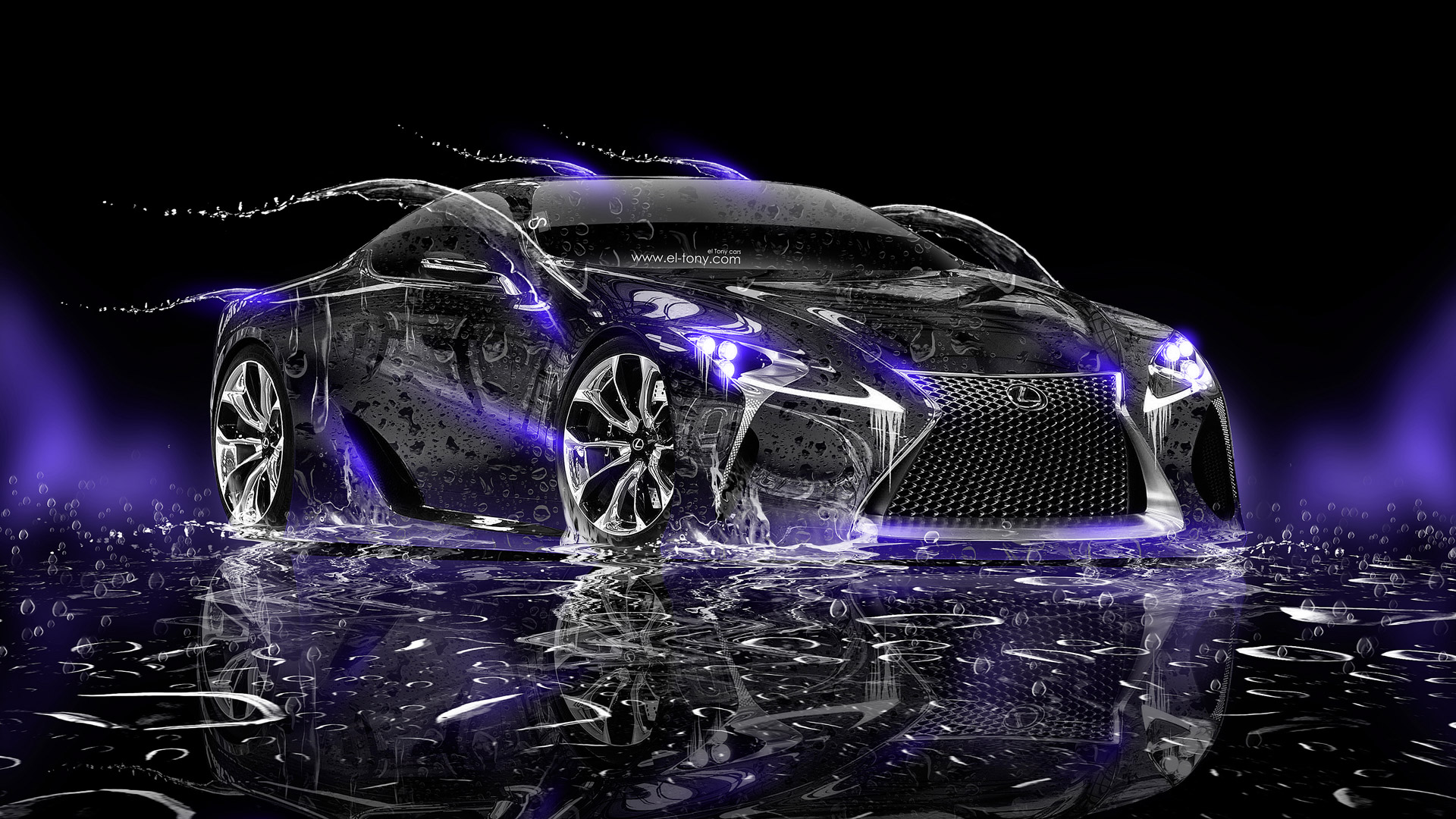 Lexus Lf Lc Water Car 2014 Hd Wallpapers Violet Neon Design By Tony