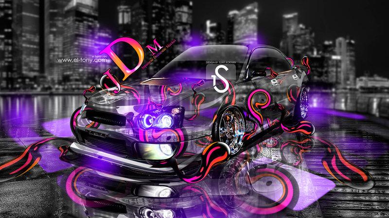 JDM Subaru Impreza WRX STI Neon Effects Car