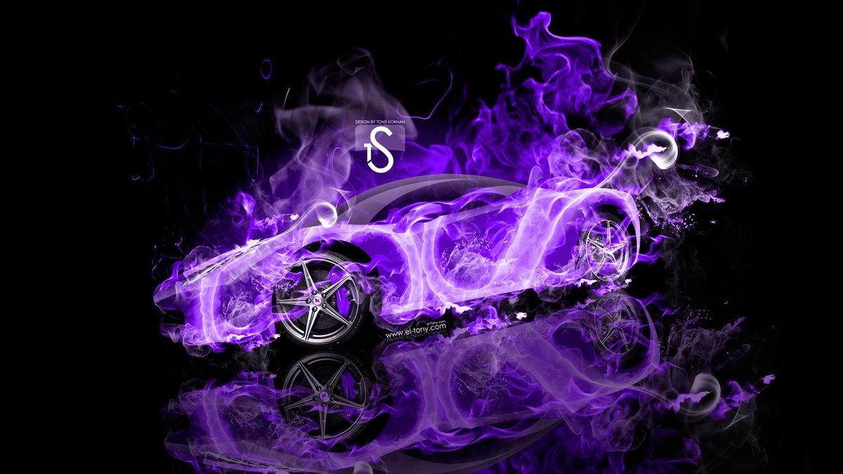 Ferrari Italia Violet Fire Abstract Car 2013 HD