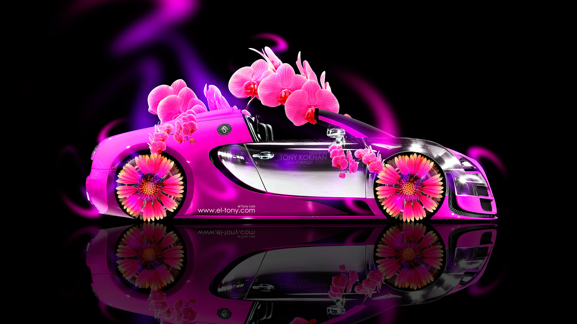 Bugatti Veyron Roadster Side Fantasy Flowers Neon Car 2014 HD Wallpapers Design By Tony Kokhan El 1920x1080