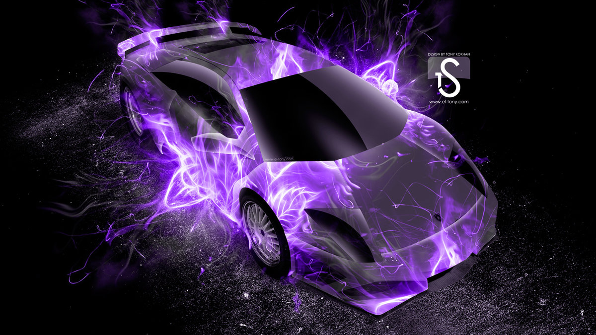 Elegant Lamborghini Murcielago Up Violet Fire Abstract Car 2013