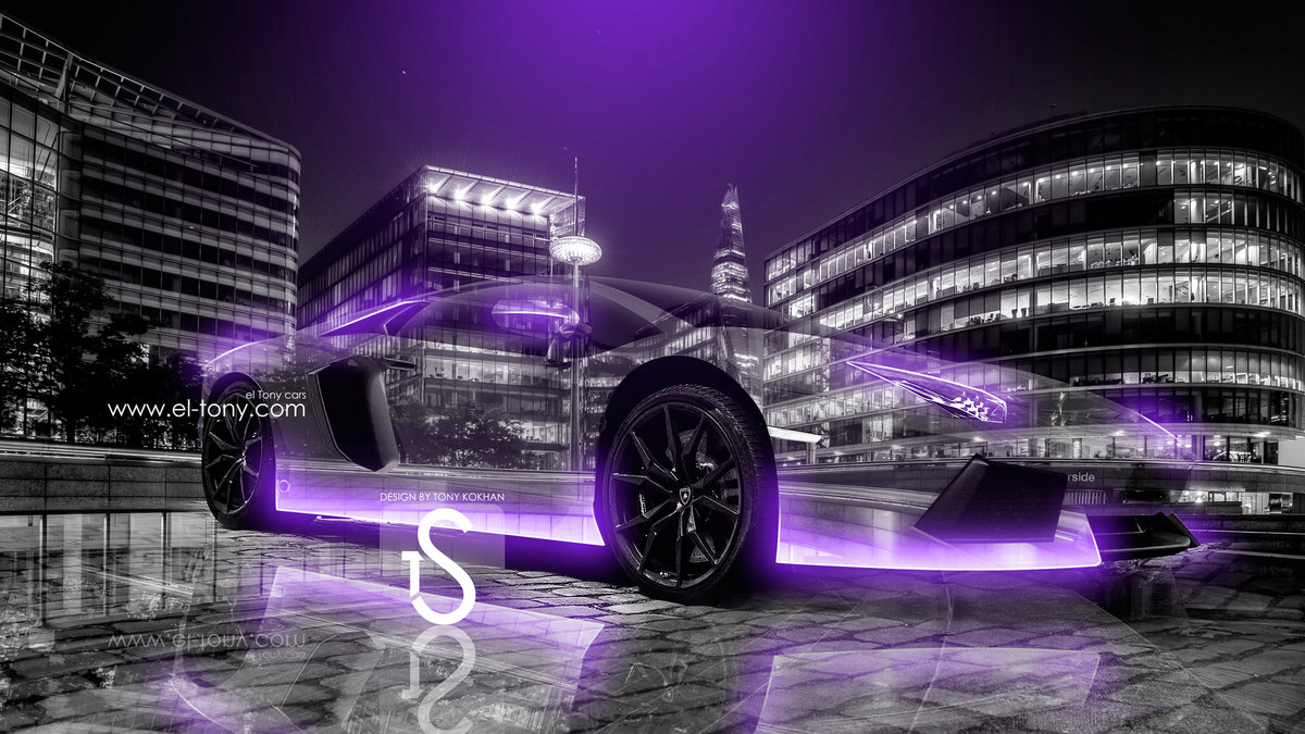 Lamborghini Aventador Crystal City Car 2013 Violet Neon HD ...