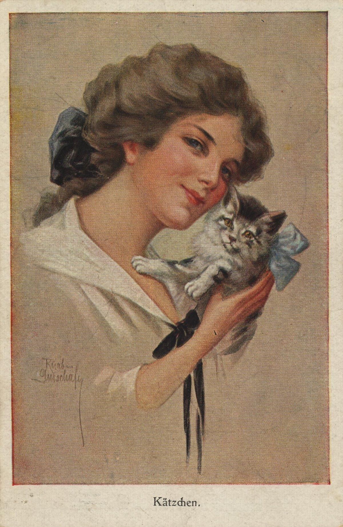 Открытки с женщинами кошками