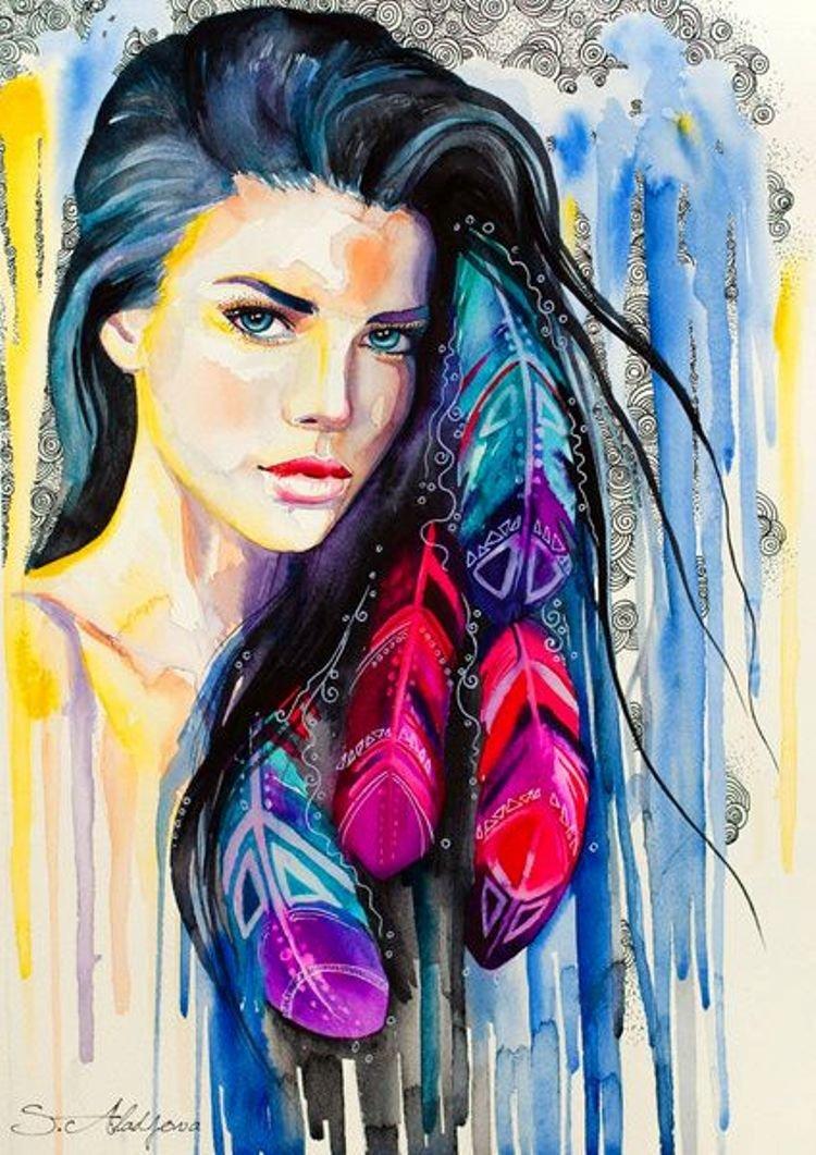 Рисунки красками девочки