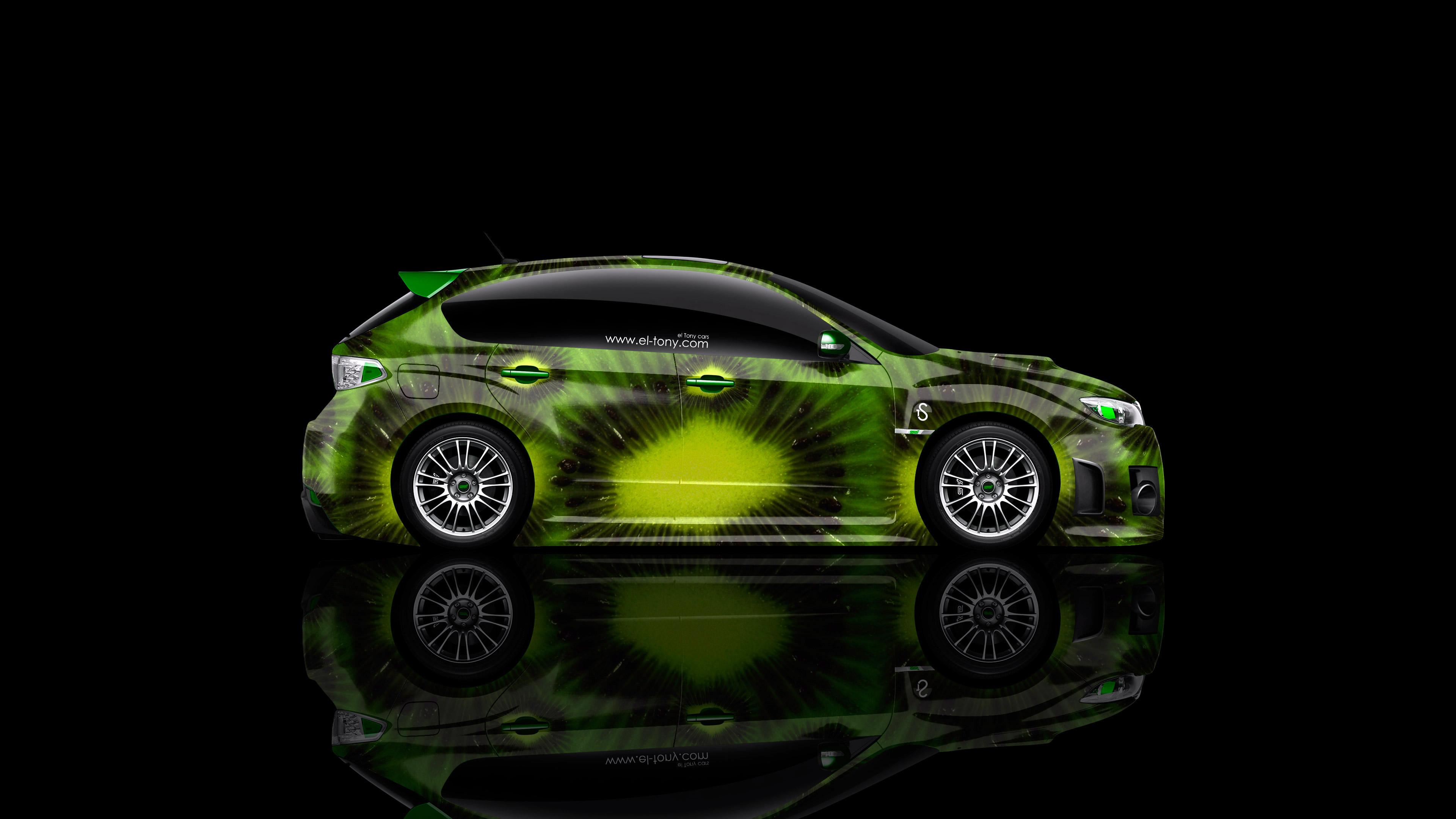 Captivating Subaru Impreza WRX STI JDM Side Kiwi Aerography Car 2014 Green ...