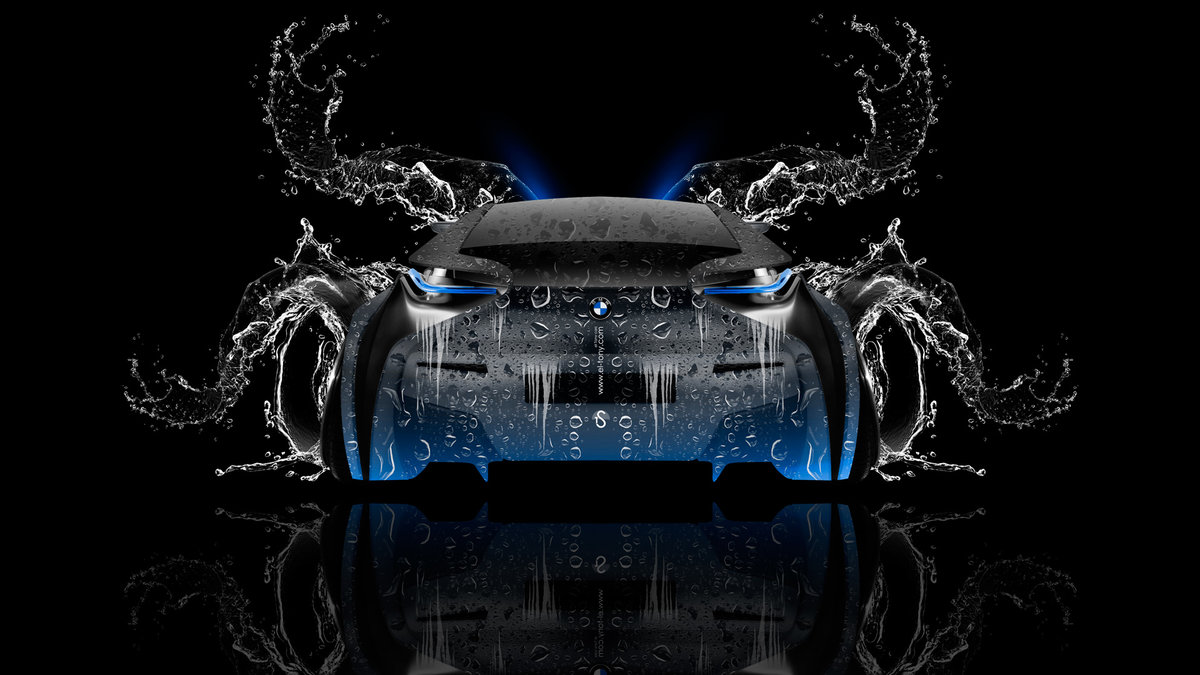 Bmw I8 Back Water Car 2014 Blue Neon Hd Wallpapers Design By Tony
