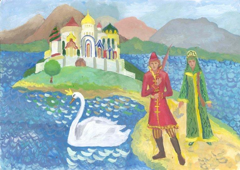 Рисованные картинки из сказки о царе салтане