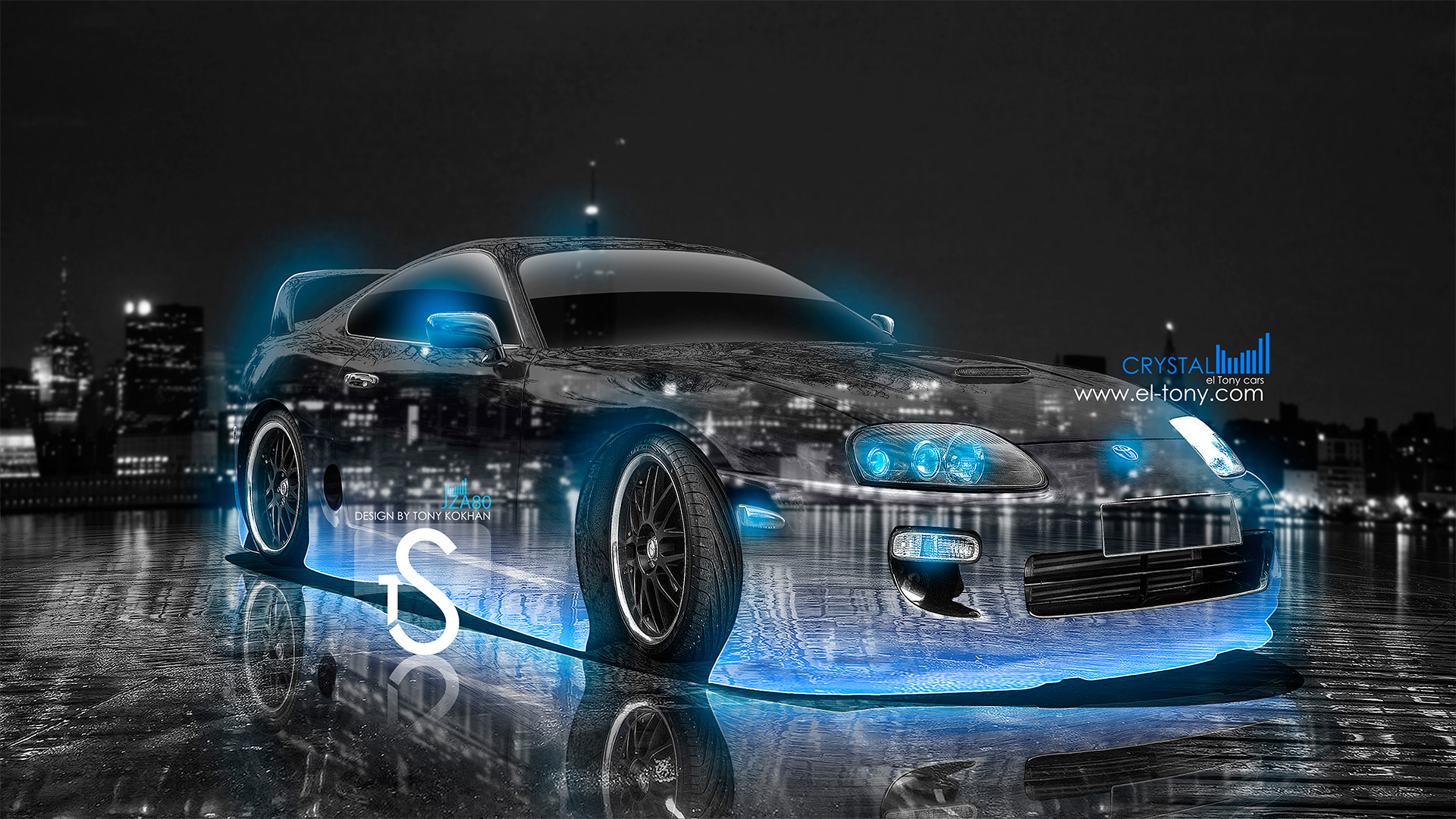 Toyota Supra Crystal City Car 2013 Blue Neon HD Wallpapers Design By ...