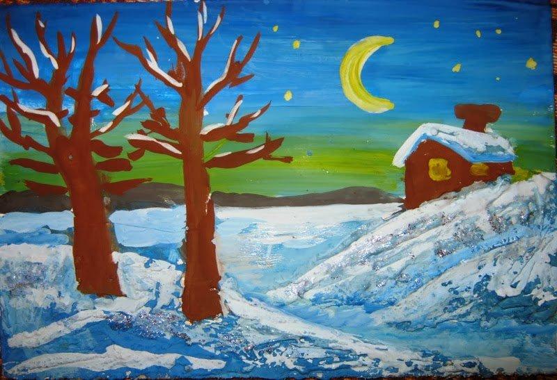 Зимний пейзаж рисунок поэтапно