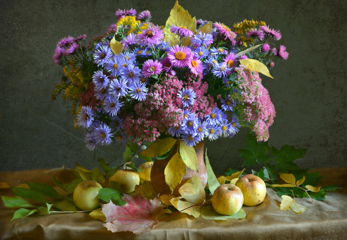 Букет осени из цветов и фруктов фото магазин метро сходненская