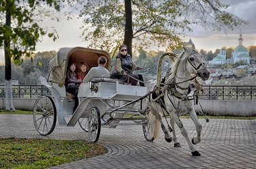 карета с лошадьми на свадьбу
