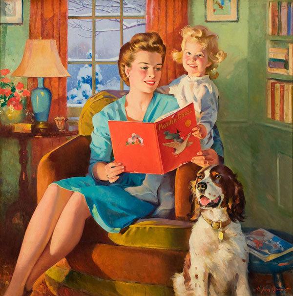 Чтение в открытках