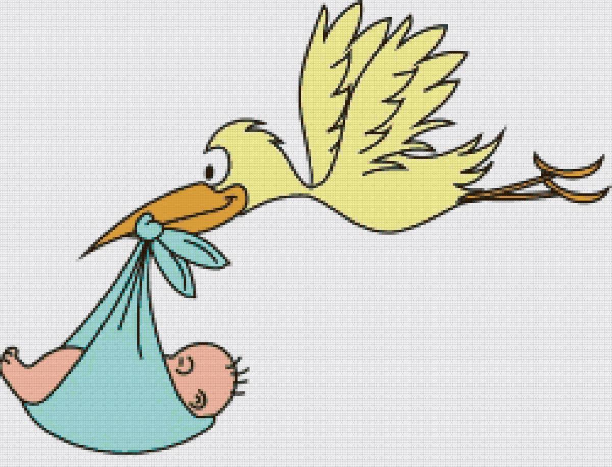 Анимация аист с ребенком на прозрачном фоне