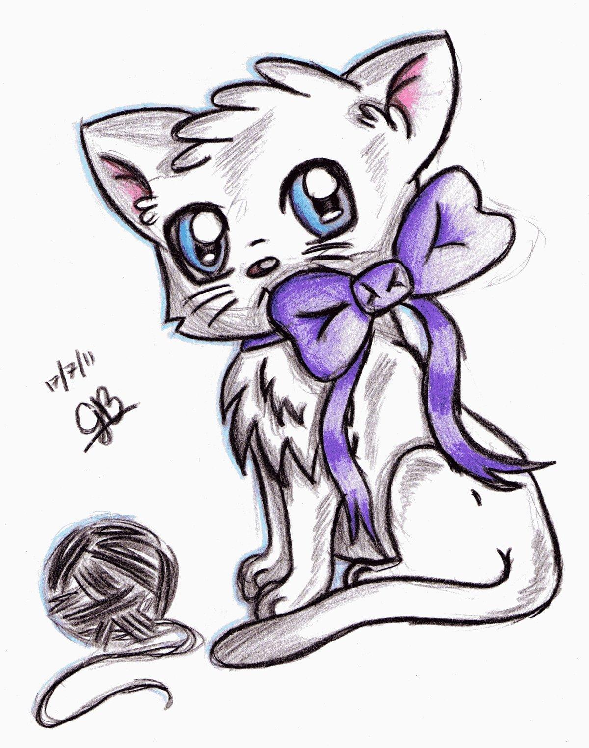 Картинки карандашом коты аниме, картинки для