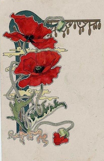 Розы арт-нуво картинки, урока