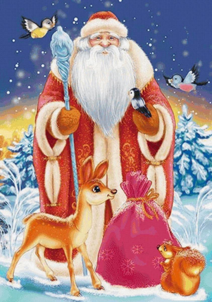 Открытка конверт, открытка новогодняя дед мороз