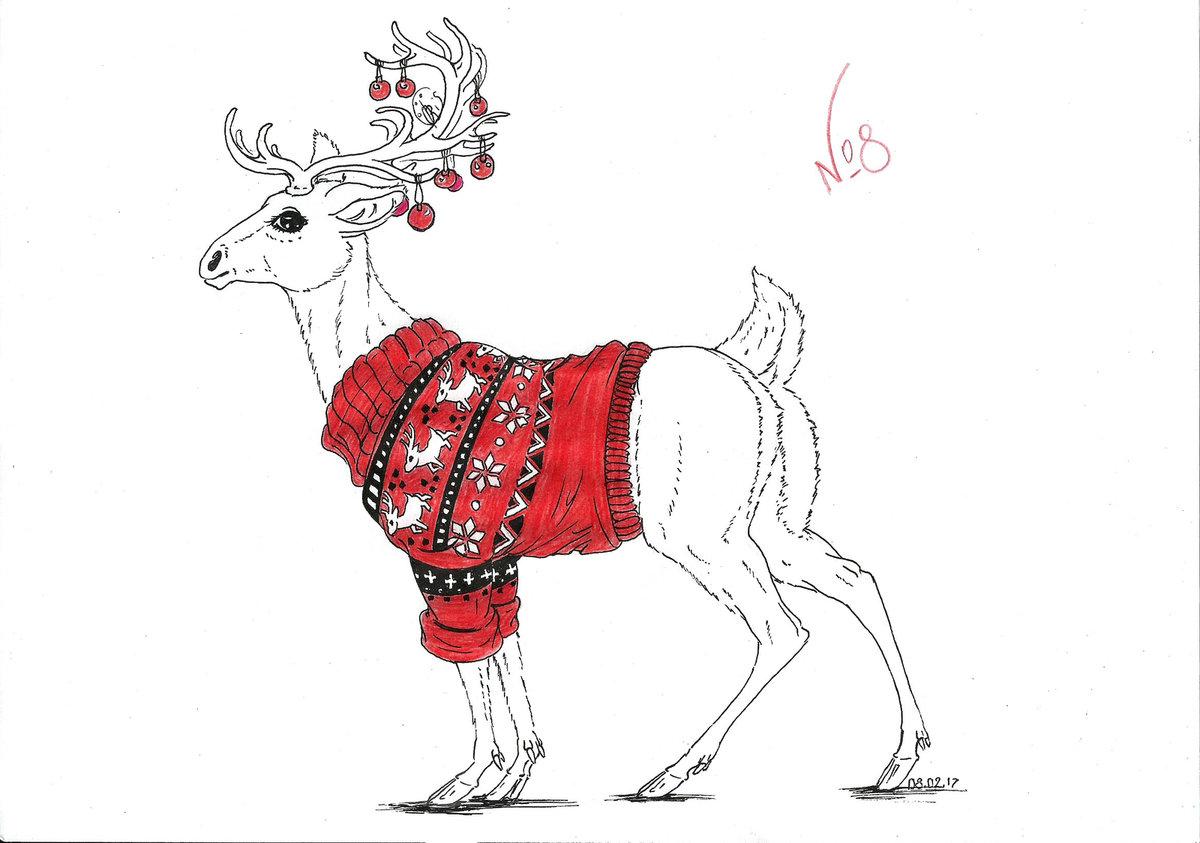 Рождественский олень картинки для срисовки
