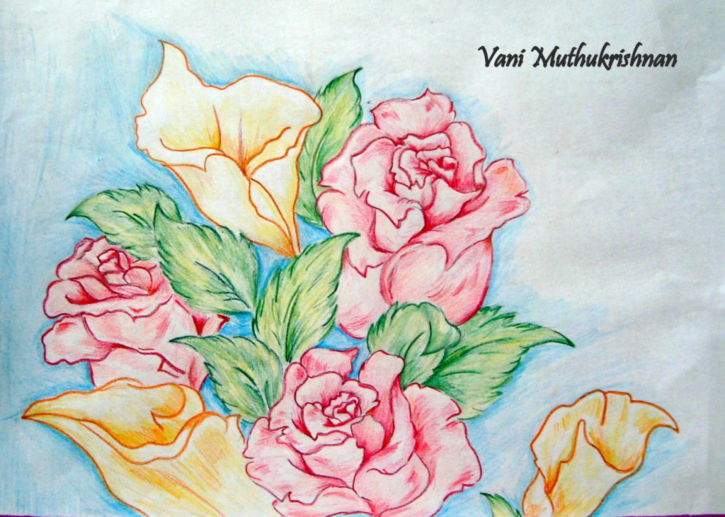 Цветы на открытку своими руками карандашом