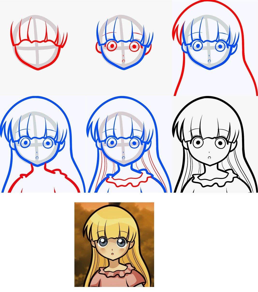 Поэтапные картинки рисования аниме