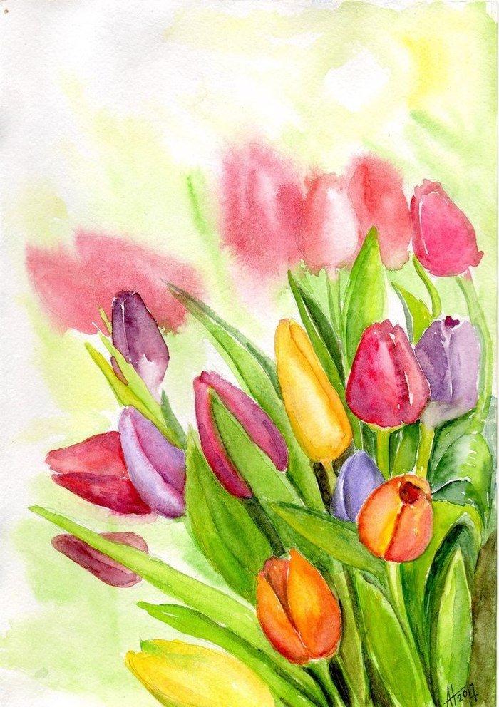 Красивые рисунки весенних цветов