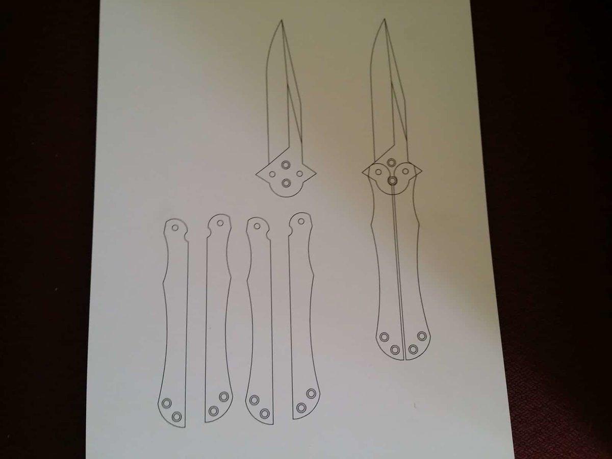Картинки нож бабочка чертеж