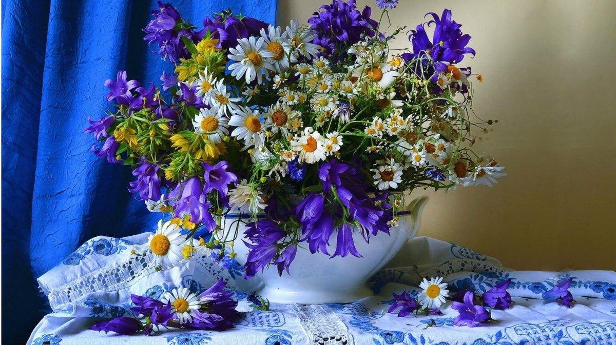 Открытки спокойной ночи цветы полевые