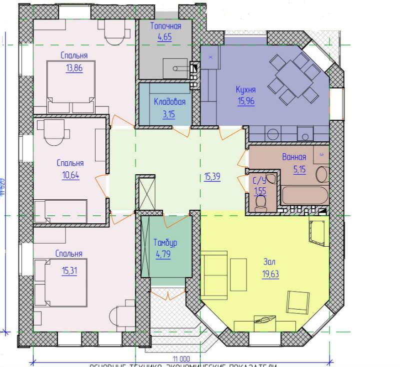 план одноэтажного дома с тремя спальнями фото этом краткое описание