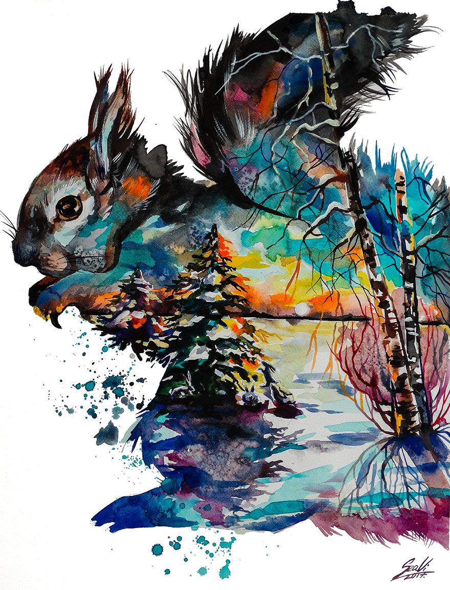 Бежевый фон, прикольные необычные рисунки красками