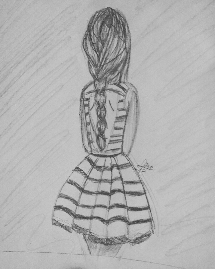 Картинки девушек со спины карандашом в платьях