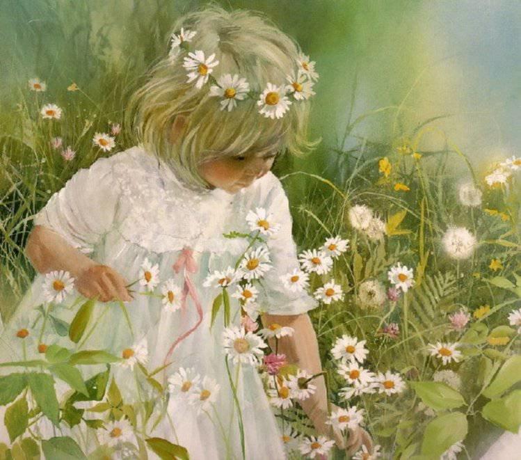 Картинки девочка с цветами, доброе утро