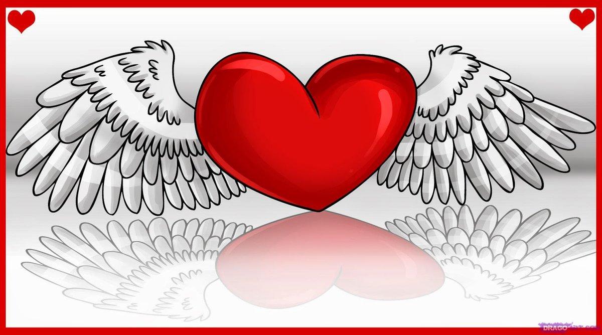 рисунки сердца с крыльями поэтапно селекционеры