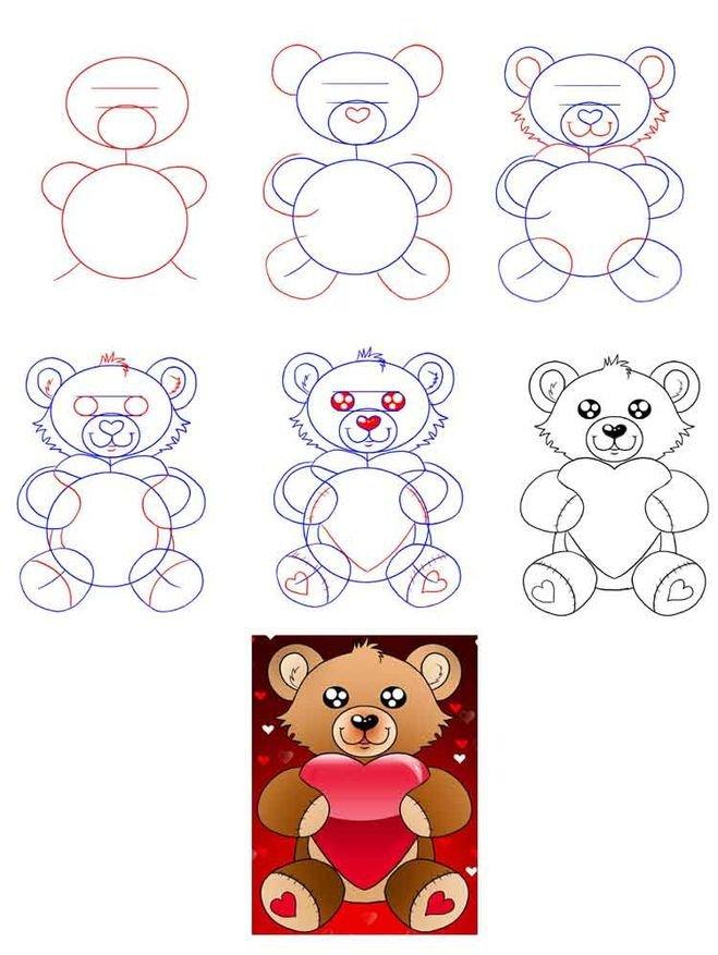 Как нарисовать открытку поэтапно для детей, картинки для