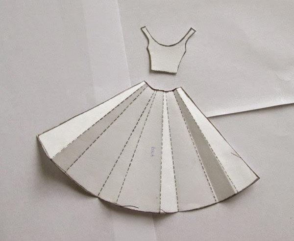 Открытками, юбка из бумаги открытка