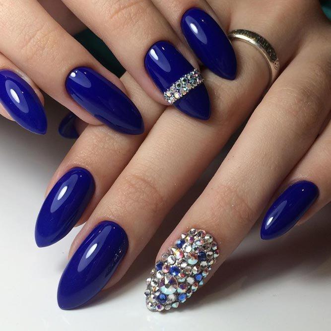 Длинные синие ногти фото