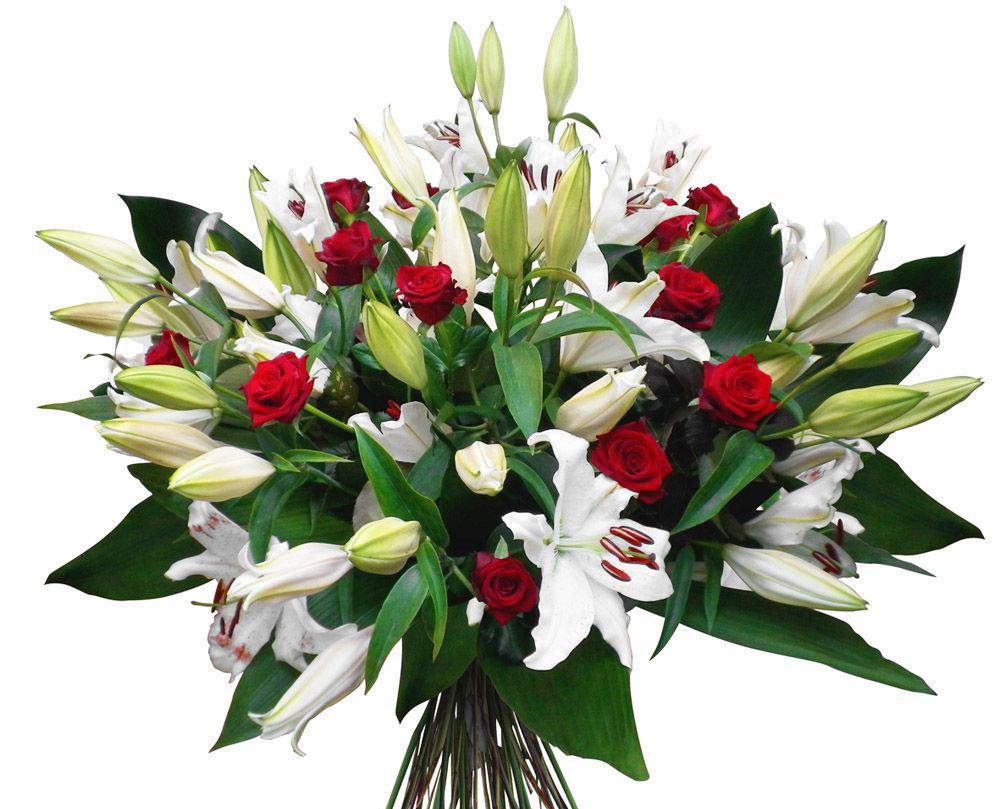 Купить для, букет лилии и розы фото