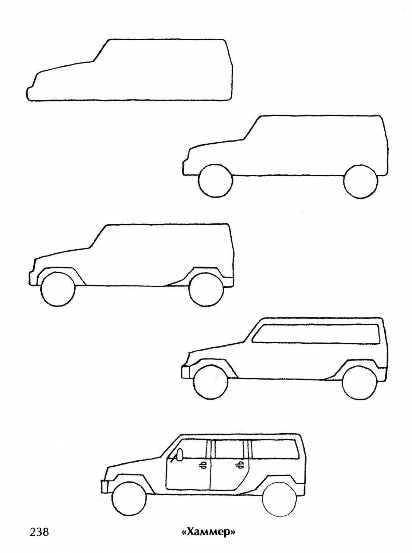 Машины рисунки карандашом поэтапно