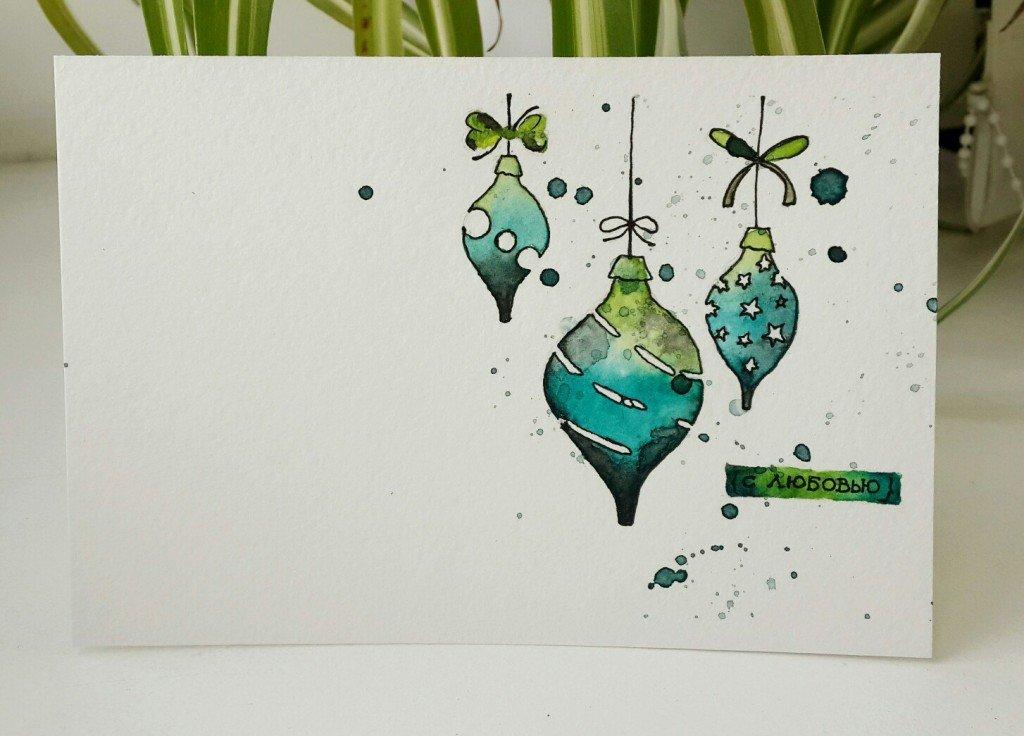 Новогодние открытки рисуем своими руками