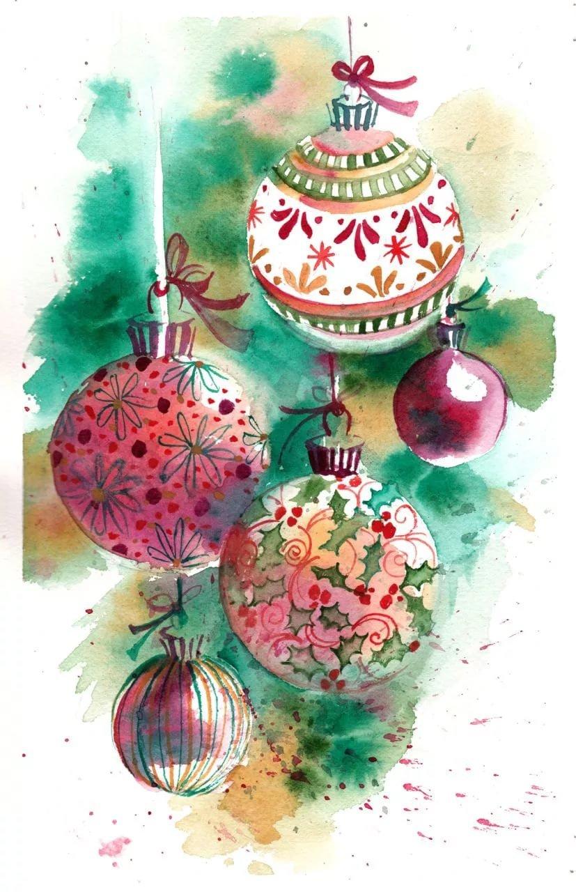 Рисунок красками новогодняя открытка