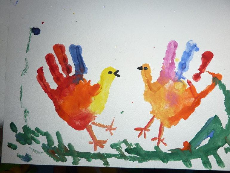 Рисунки из детской ладошки