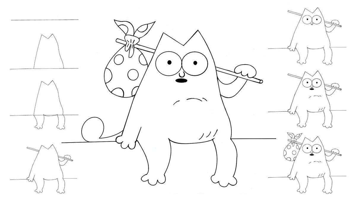 Прикольные рисунки котиков карандашом