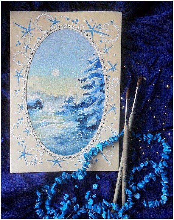 рисуем новогодние открытки акрилом отдыха моря