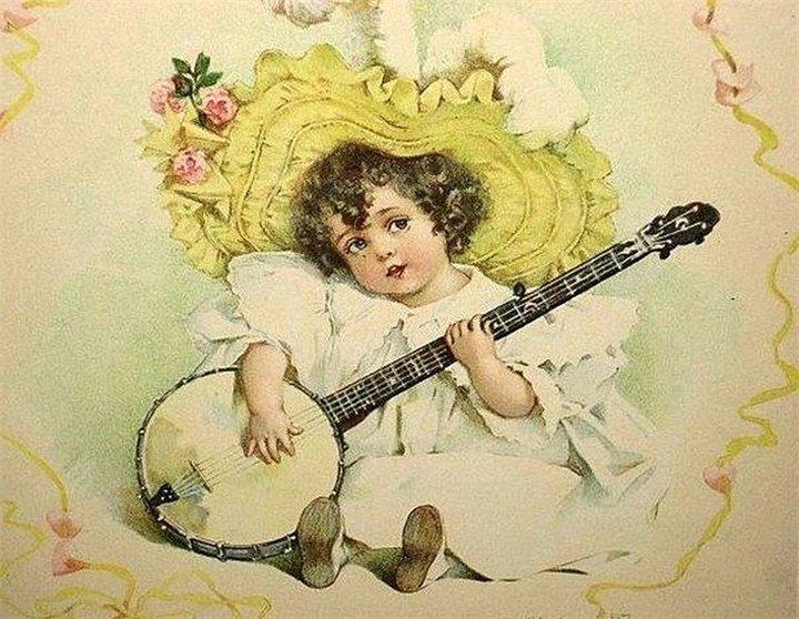 Днем, музыкальная открытка ретро