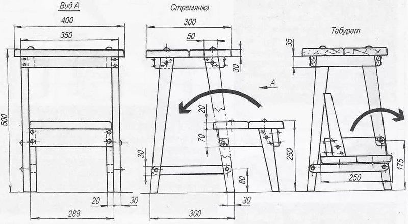 Стул-стремянка своими руками (фото, чертежи) Стулья Pinterest 79